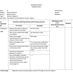 apswrei society lesson plan 4 class subject lesson topic sub topic ix physical science measurement vernier calipers1 description and principle of  [ 1024 x 791 Pixel ]