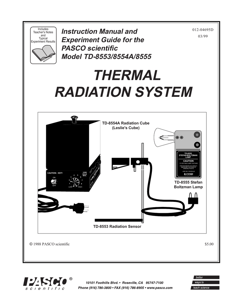 THERMAL RADIATION SYSTEM Instruction Manual and Experiment