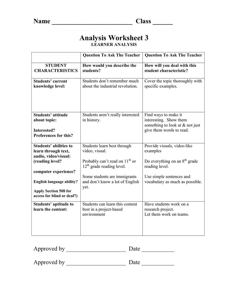 hight resolution of Analysis Worksheet 3 Name Class ______