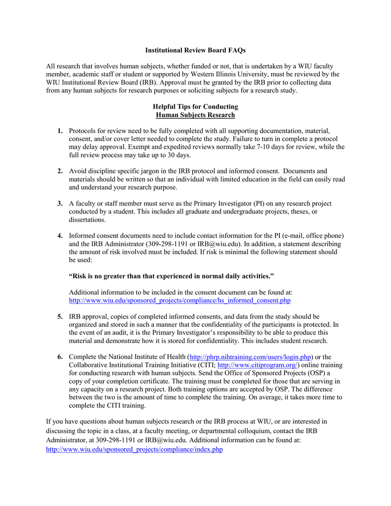 Irb Administrator Cover Letter Institutional Review Board Faqs