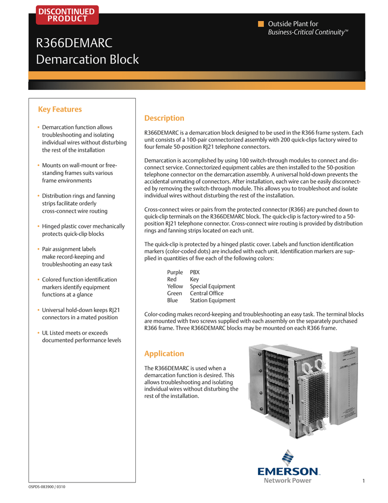 medium resolution of discontinued product outside plant for business critical continuity r366demarc demarcation block key features demarcation function allows troubleshooting