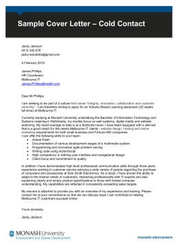 Engineering Vacation Program Sample Cover Letter