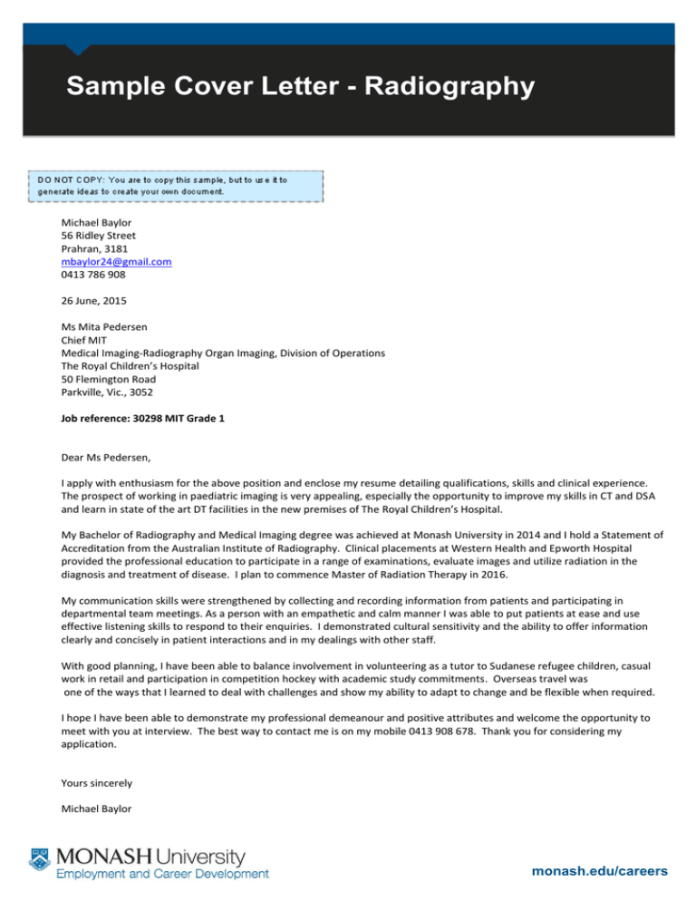 Sample Cover Letter Radiography