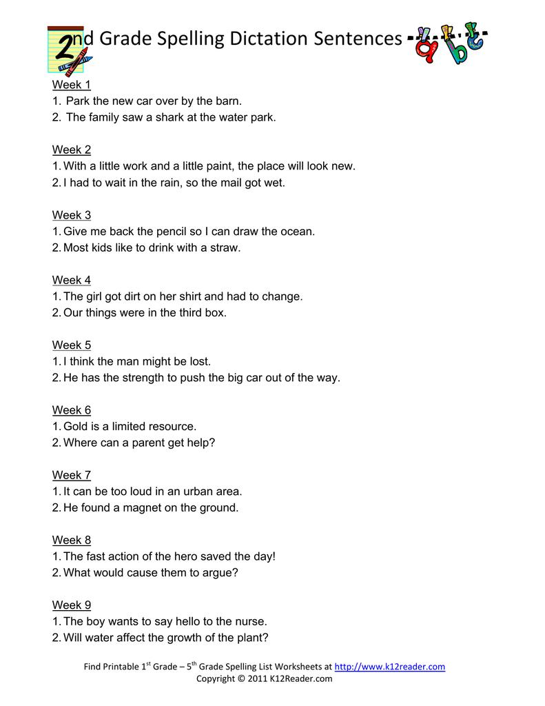 hight resolution of nd Grade Spelling Dictation Sentences
