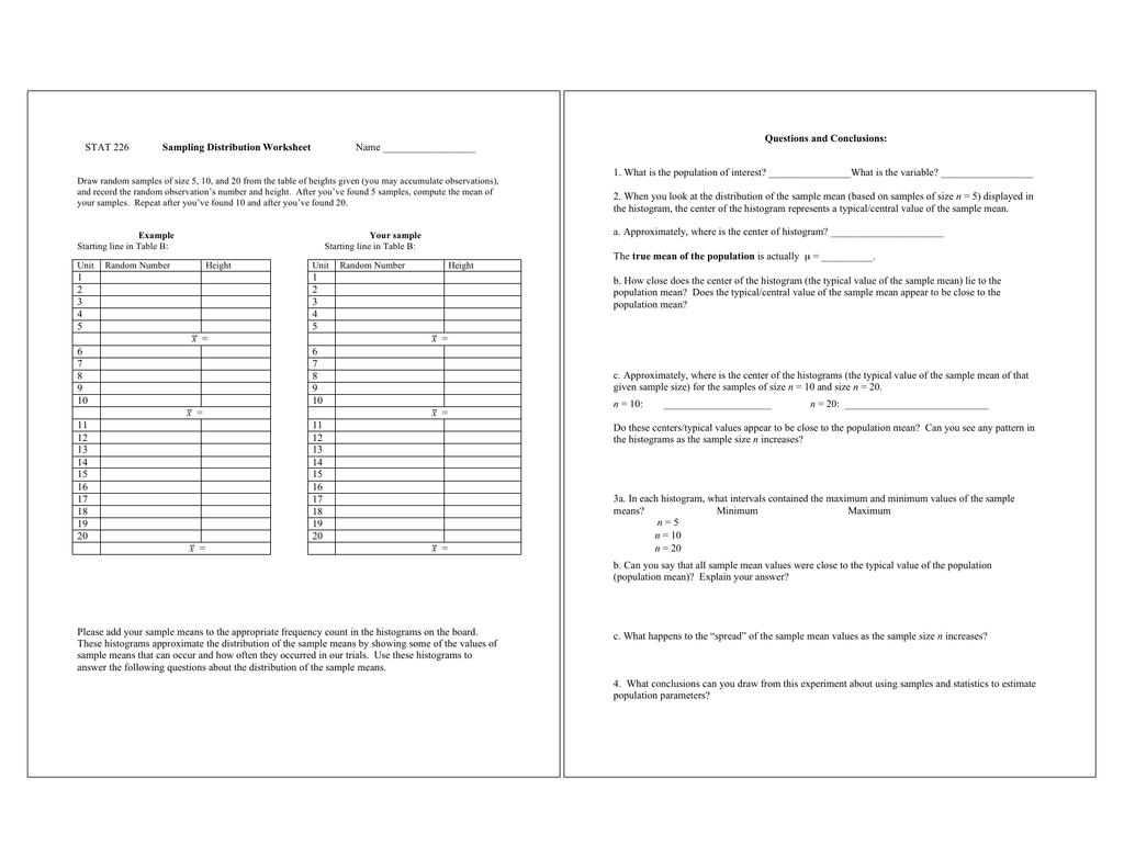 Sampling Distribution Worksheet