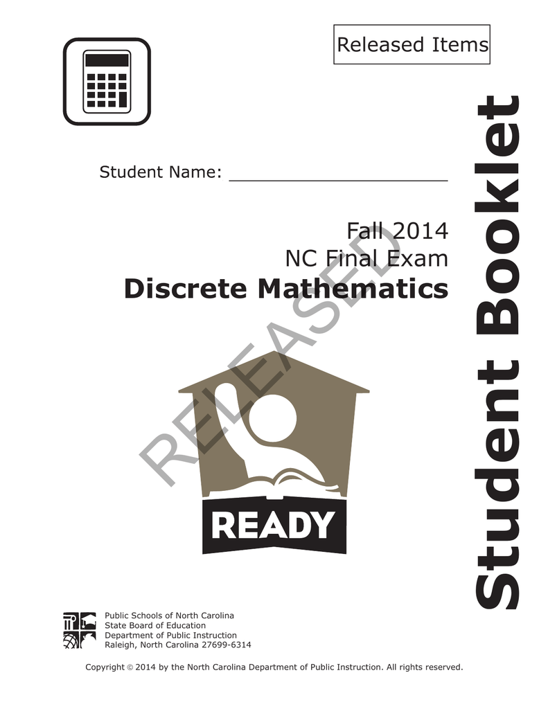 RELEASED Student Booklet Discrete Mathematics Fall 2014