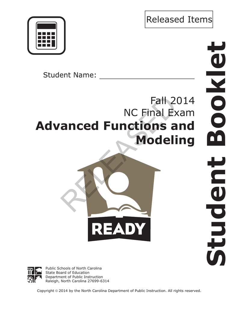 RELEASED Student Booklet Advanced Functions and Modeling