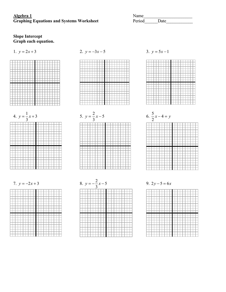 hight resolution of Algebra 1 Graphing Equations and Systems Worksheet Slope Intercept