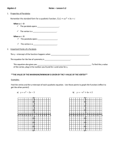 College Prep Math Graphing Quadratic Functions Notes