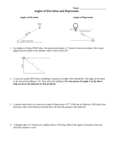 Angle Of Elevation And Depression Worksheet Answers With Work : angle, elevation, depression, worksheet, answers, Angle, Elevation, Depression