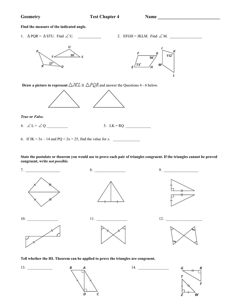 Geometry Test Chapter 4