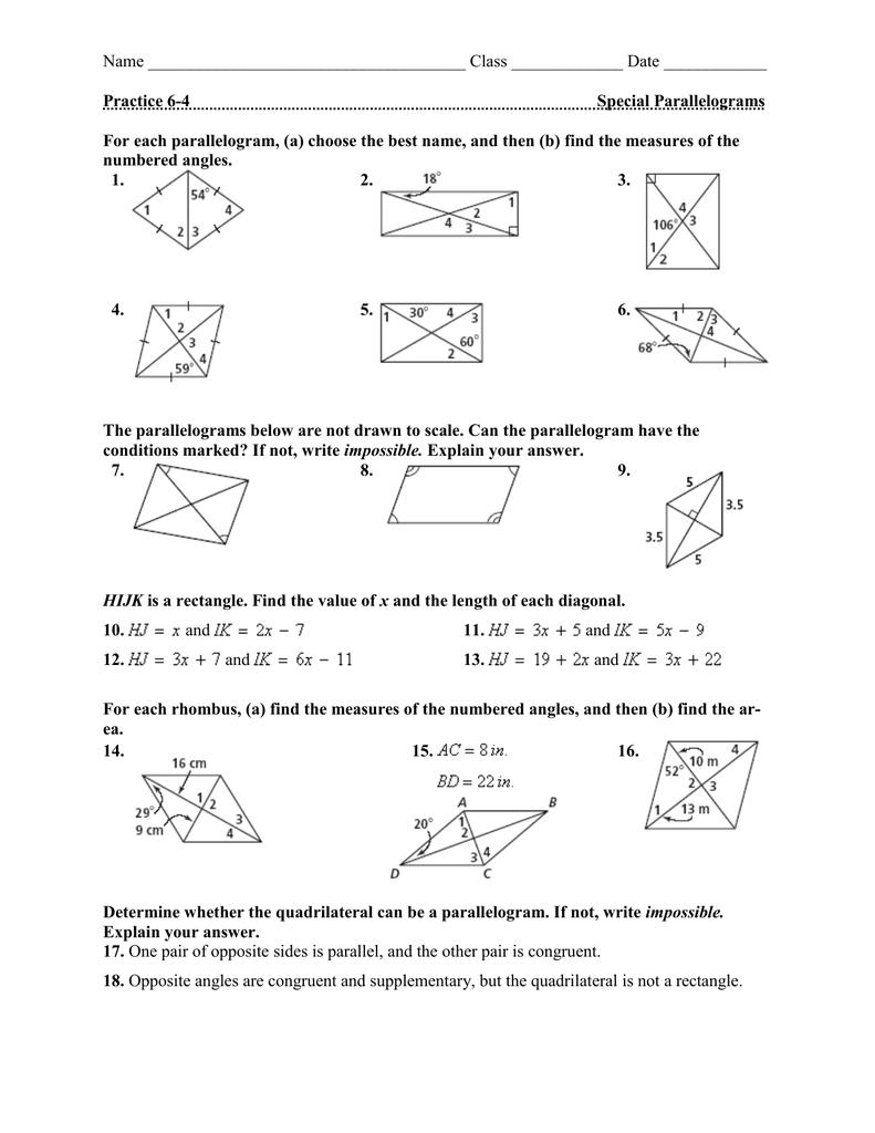 medium resolution of Properties Of Special Parallelograms Worksheet - Nidecmege