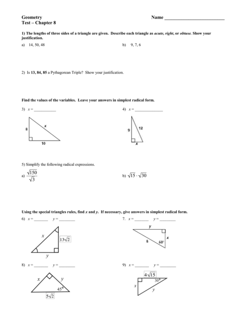 small resolution of Right triangles test answer key