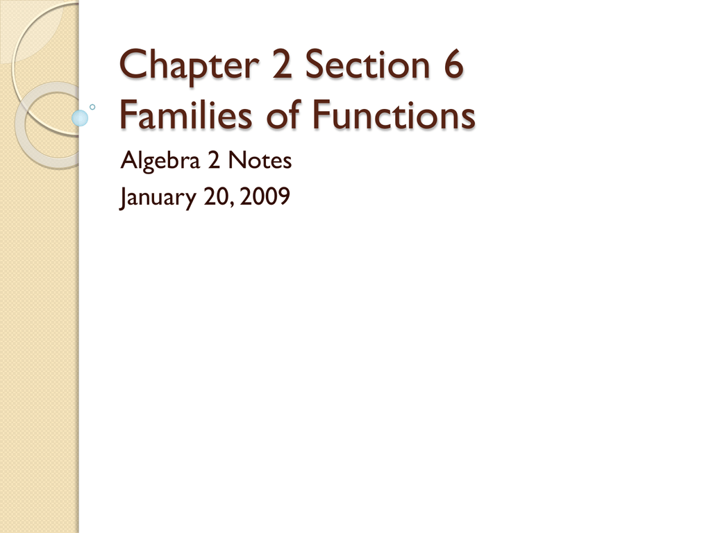Chapter 2 Section 6 Families Of Functions Algebra 2 Notes