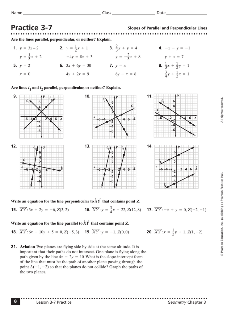 Slopes Of Parallel And Perpendicular Lines Worksheet Answers : slopes, parallel, perpendicular, lines, worksheet, answers, Practice