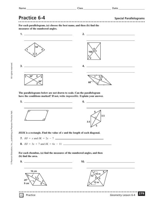 small resolution of Properties Of Special Parallelograms Worksheet - Worksheet List