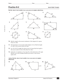 Special Right Triangles Quiz Worksheet - Kidz Activities