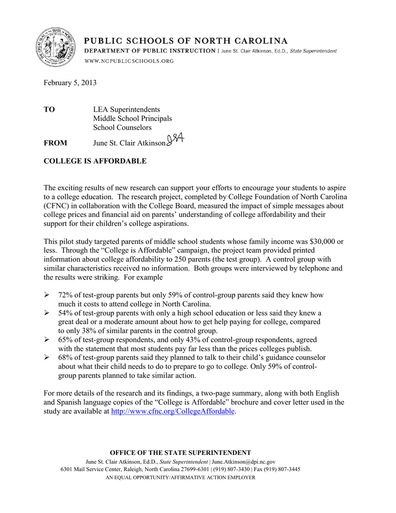 Nc School Counselor Cover Letter February 5 2013 Lea Superintendents Middle School Principals