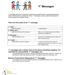 "I"" Messages CONFLICT RESOLUTION – Handout 3 GRADE [ 1024 x 791 Pixel ]"
