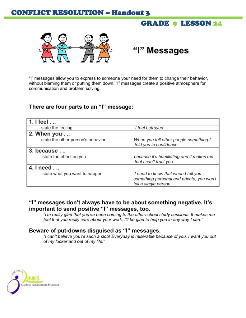 "medium resolution of I"" Messages CONFLICT RESOLUTION – Handout 3 GRADE"