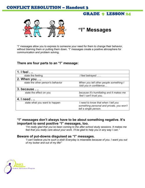 "small resolution of I"" Messages CONFLICT RESOLUTION – Handout 3 GRADE"
