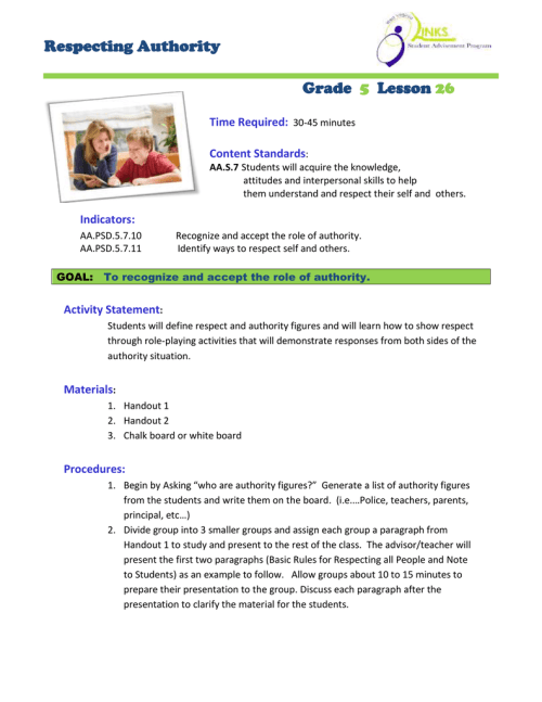 small resolution of Respecting Authority Grade Lesson