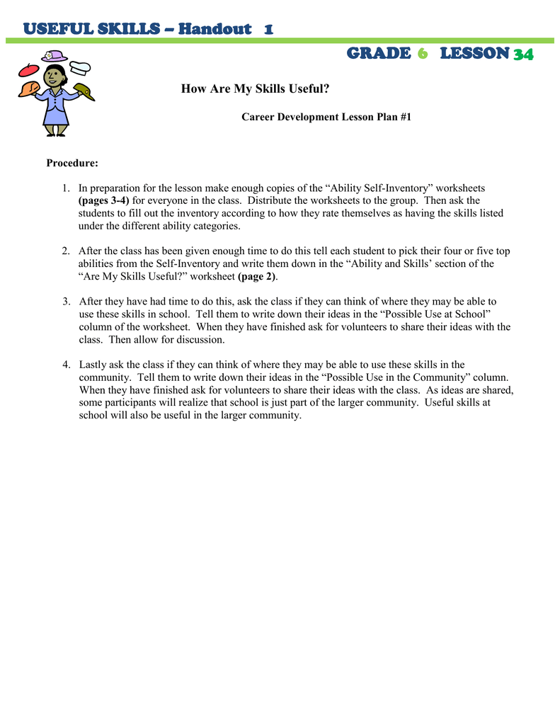 hight resolution of USEFUL SKILLS – Handout 1 GRADE LESSON
