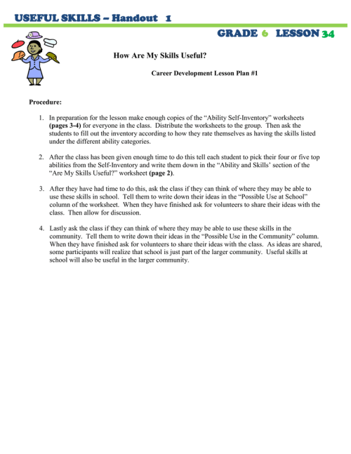 small resolution of USEFUL SKILLS – Handout 1 GRADE LESSON