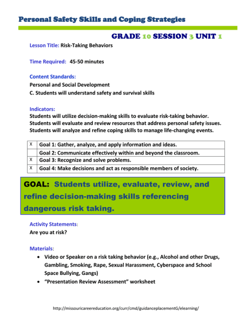 small resolution of Personal Safety Skills and Coping Strategies GRADE SESSION UNIT