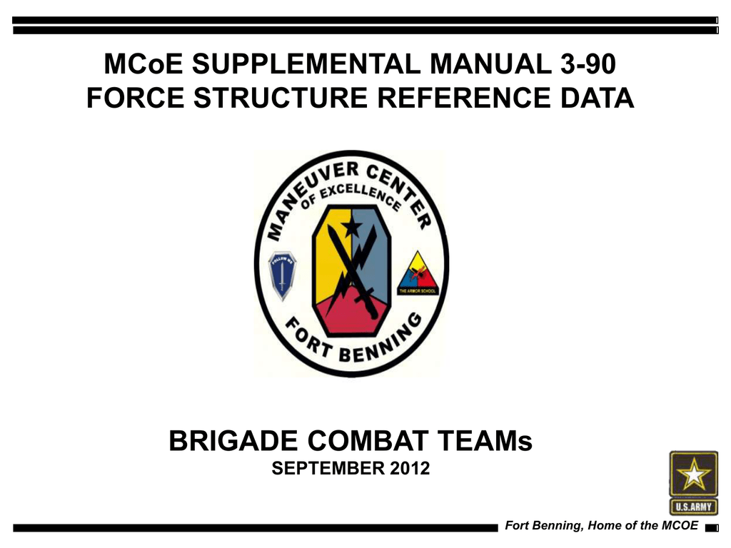 MCoE SUPPLEMENTAL MANUAL 3-90 FORCE STRUCTURE REFERENCE