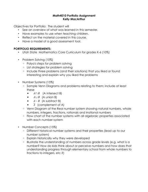 small resolution of math4010 portfolio assignment kelly macarthur objectives for portfolio the student will