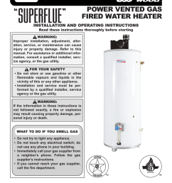 power vented gas fired water heater installation and operating instructions [ 791 x 1024 Pixel ]