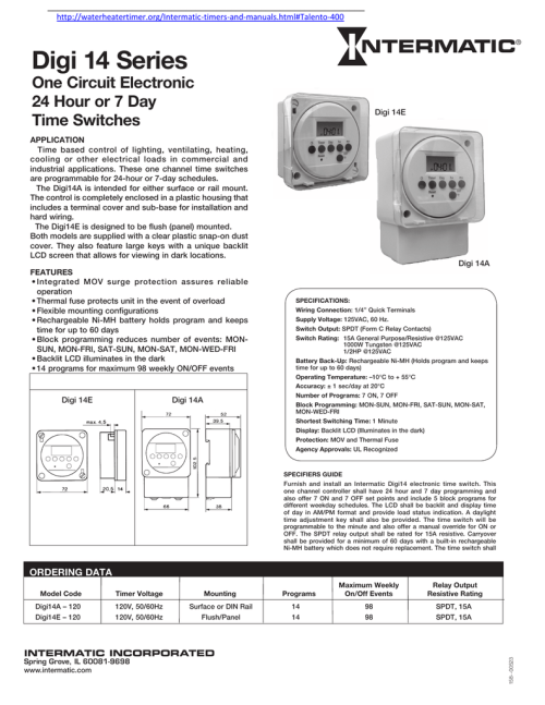 small resolution of http waterheatertimer org intermatic timers and manuals html talento 400 digi 14 series one circuit electronic 24 hour or 7 day time switches digi 14e