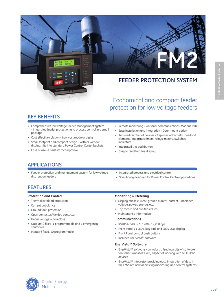 medium resolution of fm2 feeder protection system economical and compact feeder protection for low voltage feeders