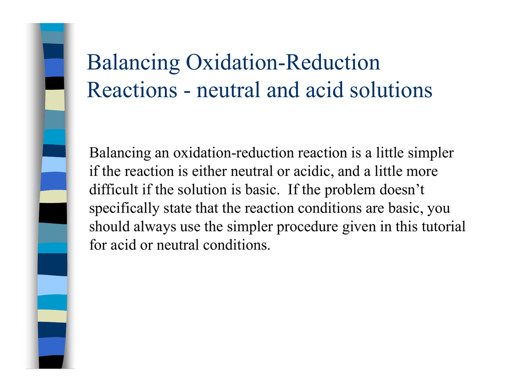 Balancing Oxidation Reduction G Reactions
