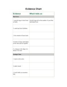 Evidence chart what it tells us also stories from the fossil record key rh studylib