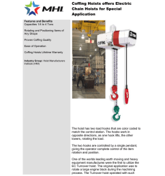 coffing hoists offers electric chain hoists for special application features and benefits capacities 1 4 to 4 tons rotating and positioning items of any  [ 791 x 1024 Pixel ]