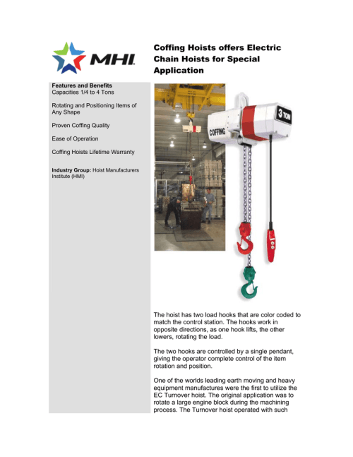 small resolution of coffing hoists offers electric chain hoists for special application features and benefits capacities 1 4 to 4 tons rotating and positioning items of any
