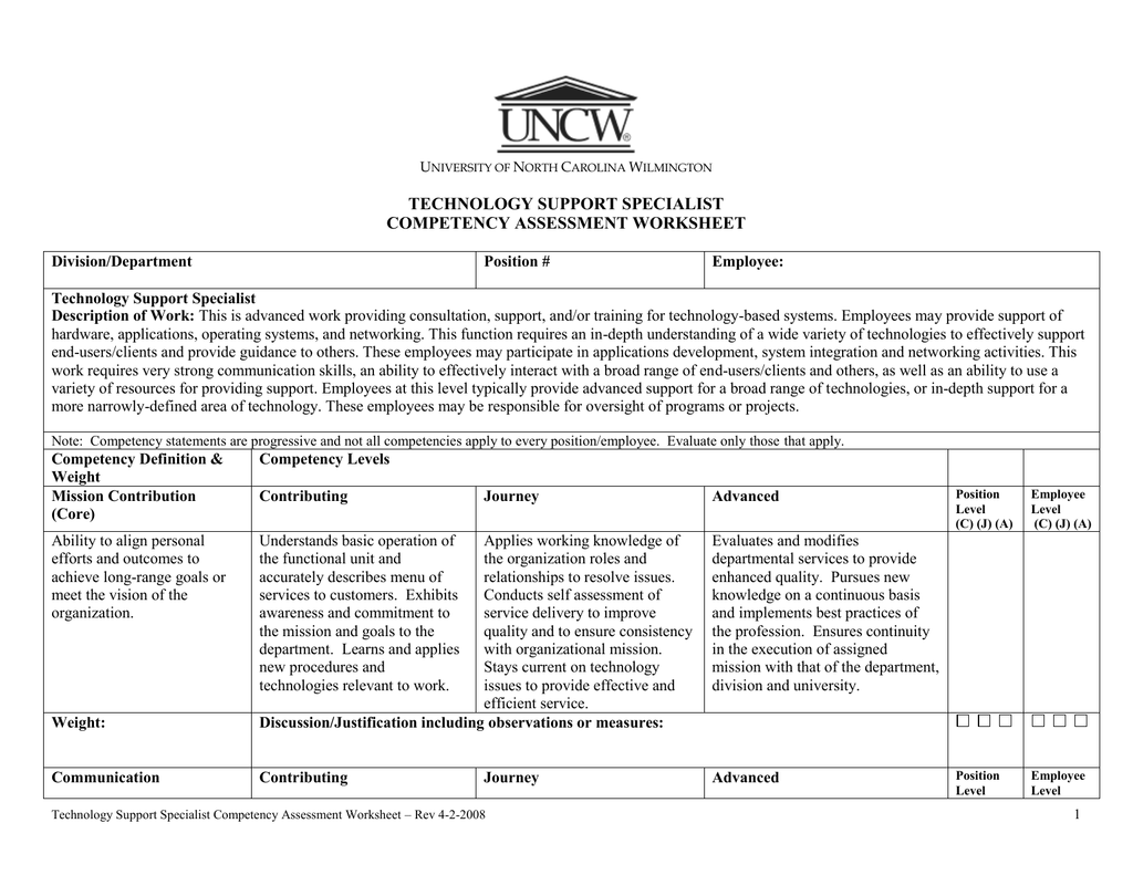 Technology Support Specialist Competency Assessment Worksheet