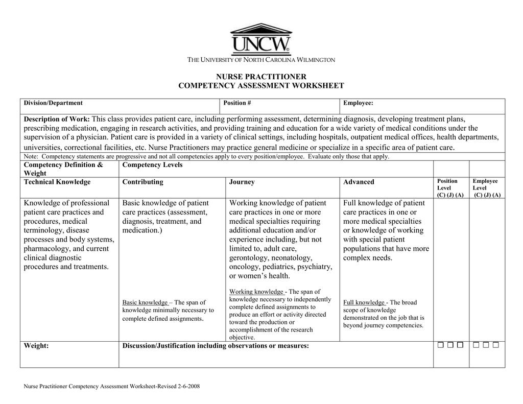 Nurse Practitioner Competency Assessment Worksheet