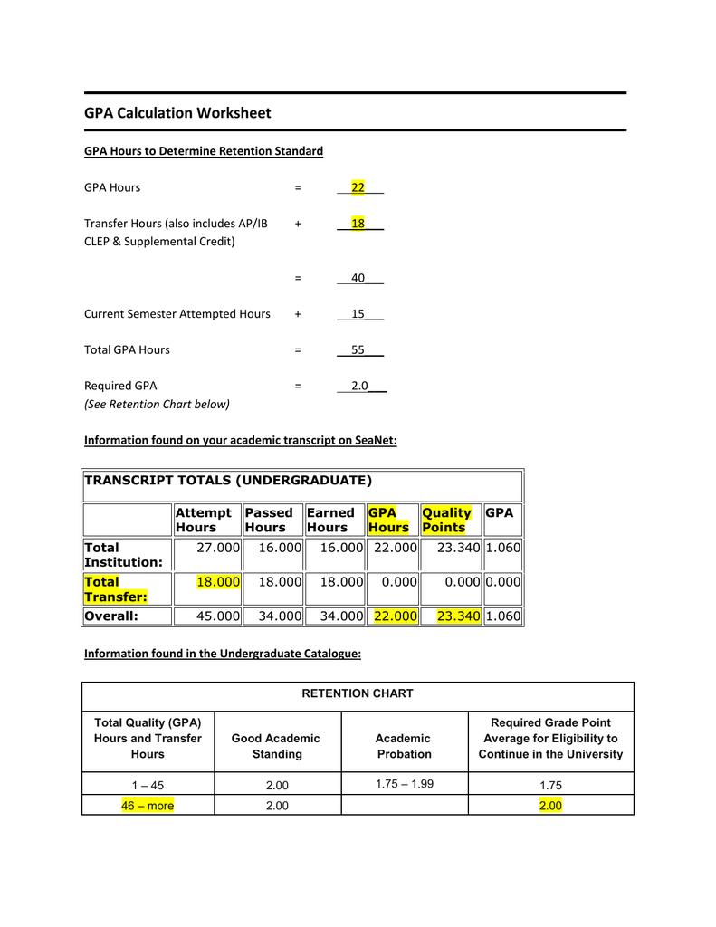 medium resolution of GPA Calculation Worksheet