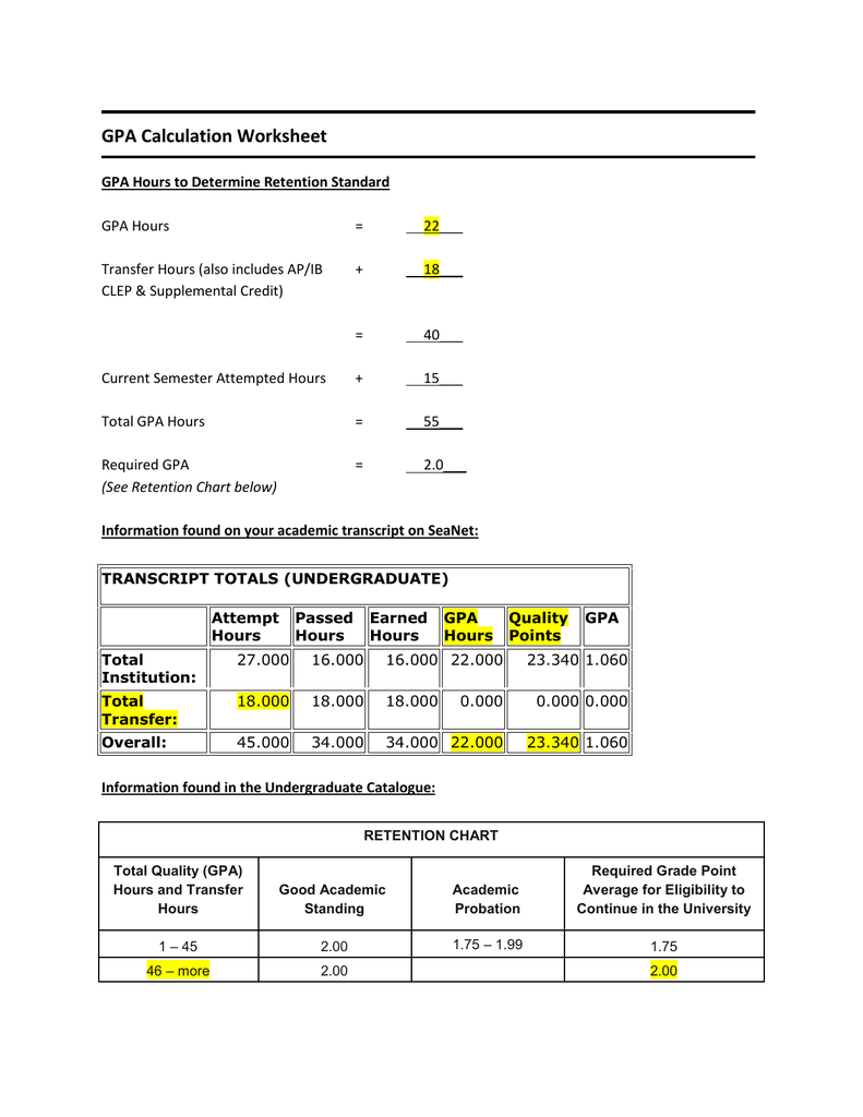 hight resolution of GPA Calculation Worksheet