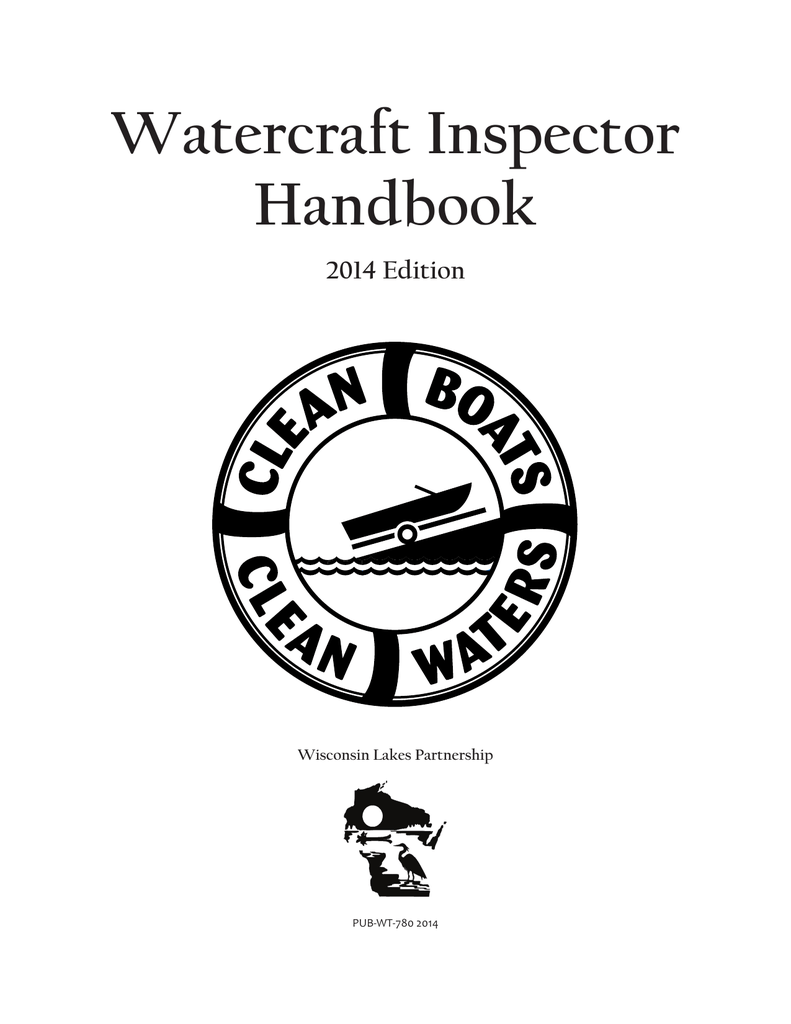 Watercraft Inspector Handbook 2014 Edition Wisconsin Lakes