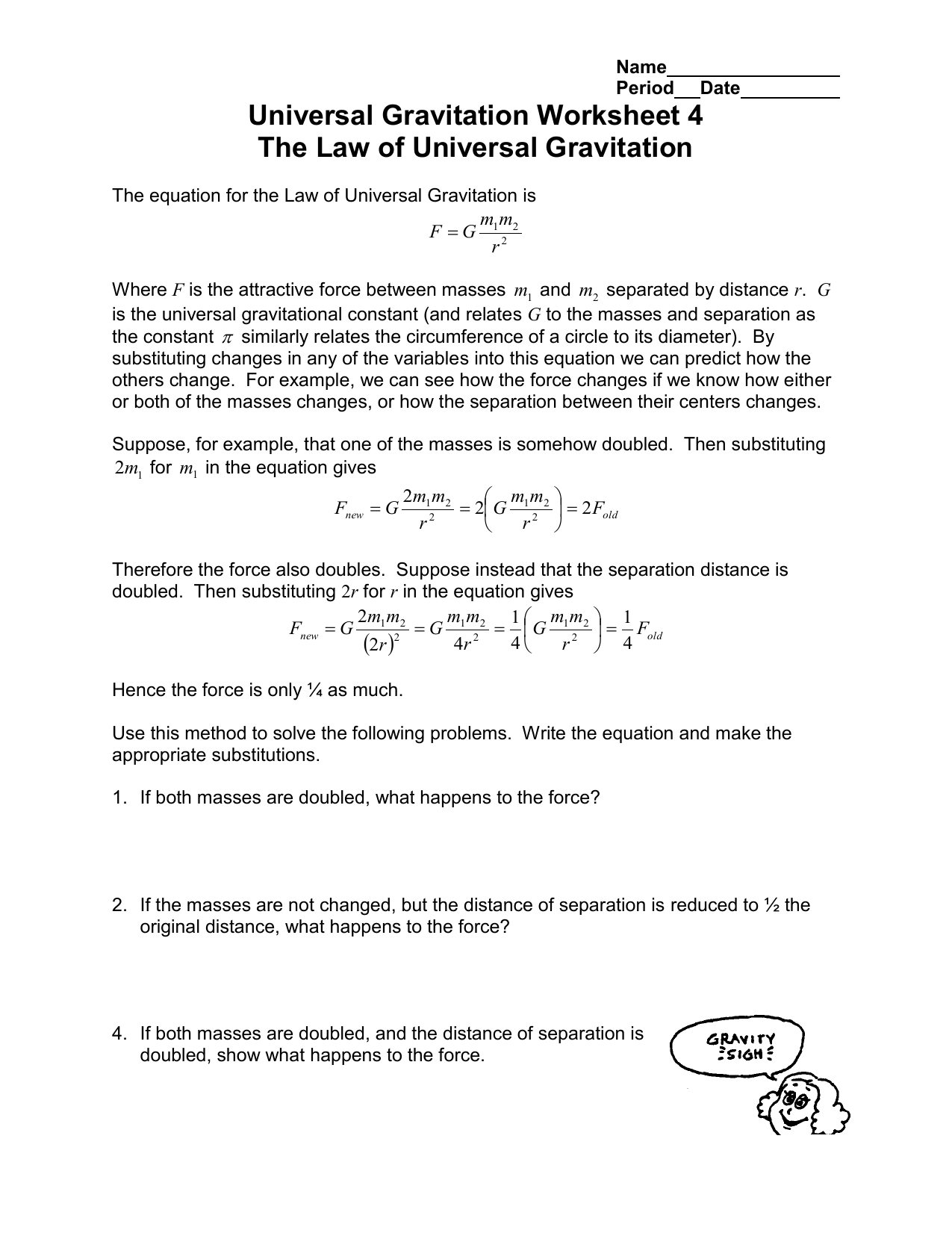 Universal Gravitation Worksheet 4 The Law Of Universal