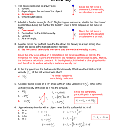 projectile motion review key 1 the acceleration due to gravity acts a upward b depending on the motion of the object c downward d toward outer  [ 791 x 1024 Pixel ]