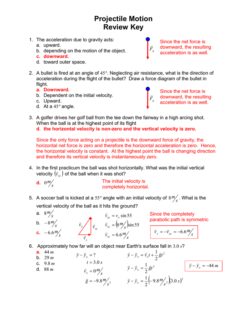 hight resolution of projectile motion review key 1 the acceleration due to gravity acts a upward b depending on the motion of the object c downward d toward outer