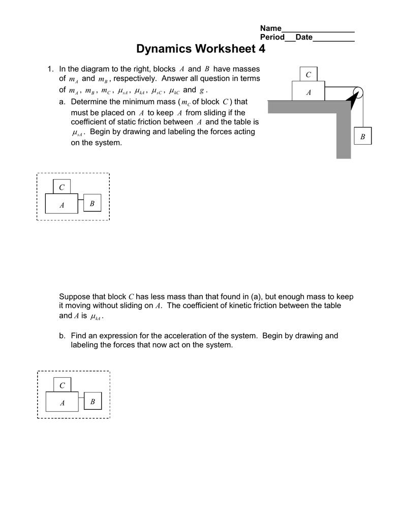 medium resolution of Dynamics Friction Worksheet Answers - Nidecmege