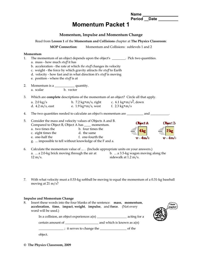 Momentum And Impulse Worksheet 1 Answer Key