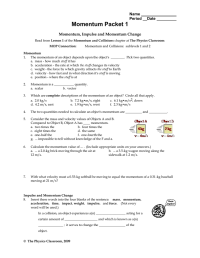 Momentum And Impulse Worksheet 1 Answer Key - Kidz Activities