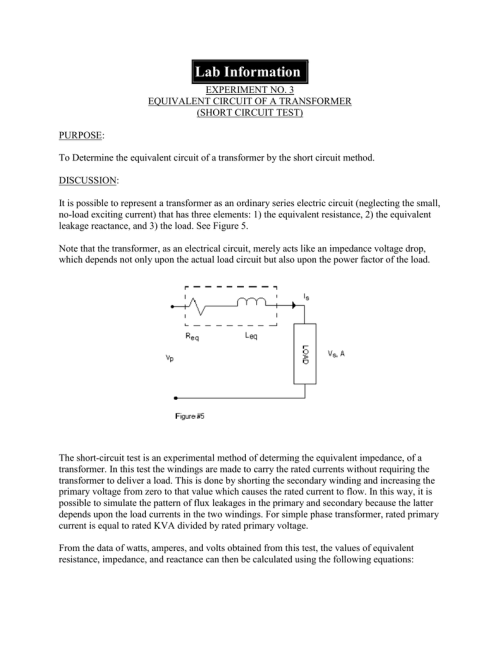 small resolution of 3 equivalent circuit of a transformer short circuit test purpose to determine the equivalent circuit of a transformer by the short circuit method